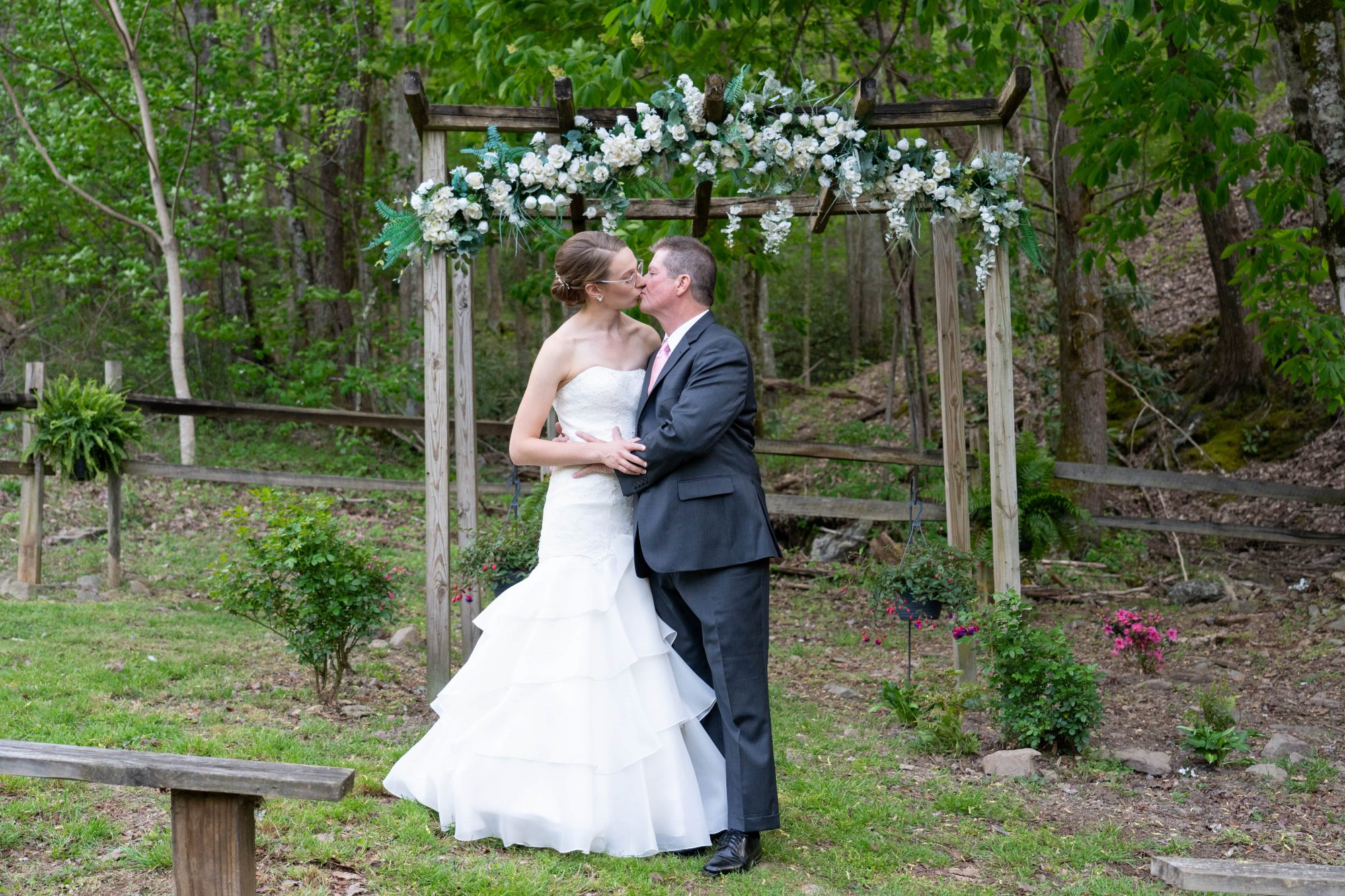 Wooden Arbor Forest Wedding Little Mountain Hideaway